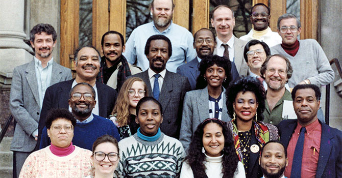 Presenters and other participants in the University of Michigan's Conference on Race and the Incidence of Environmental Hazards in front of the Dana Building, 1990.