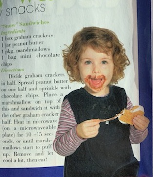 Child eating sugar on magazine cover