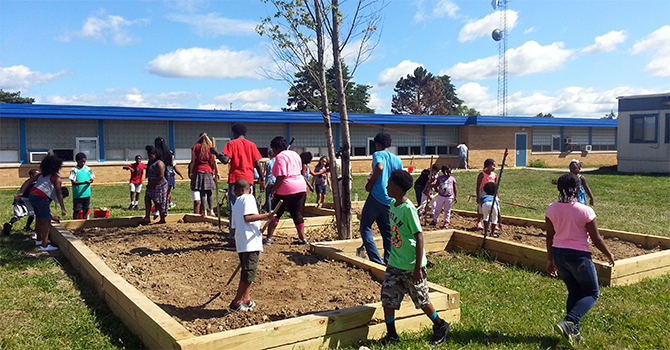A large garden project at Hamady Middle School in Flint, Michigan, co-facilitated by Youth Empowerment Solutions (YES)