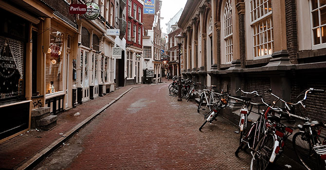 An empty street in Amsterdam due to the spread of COVID-19