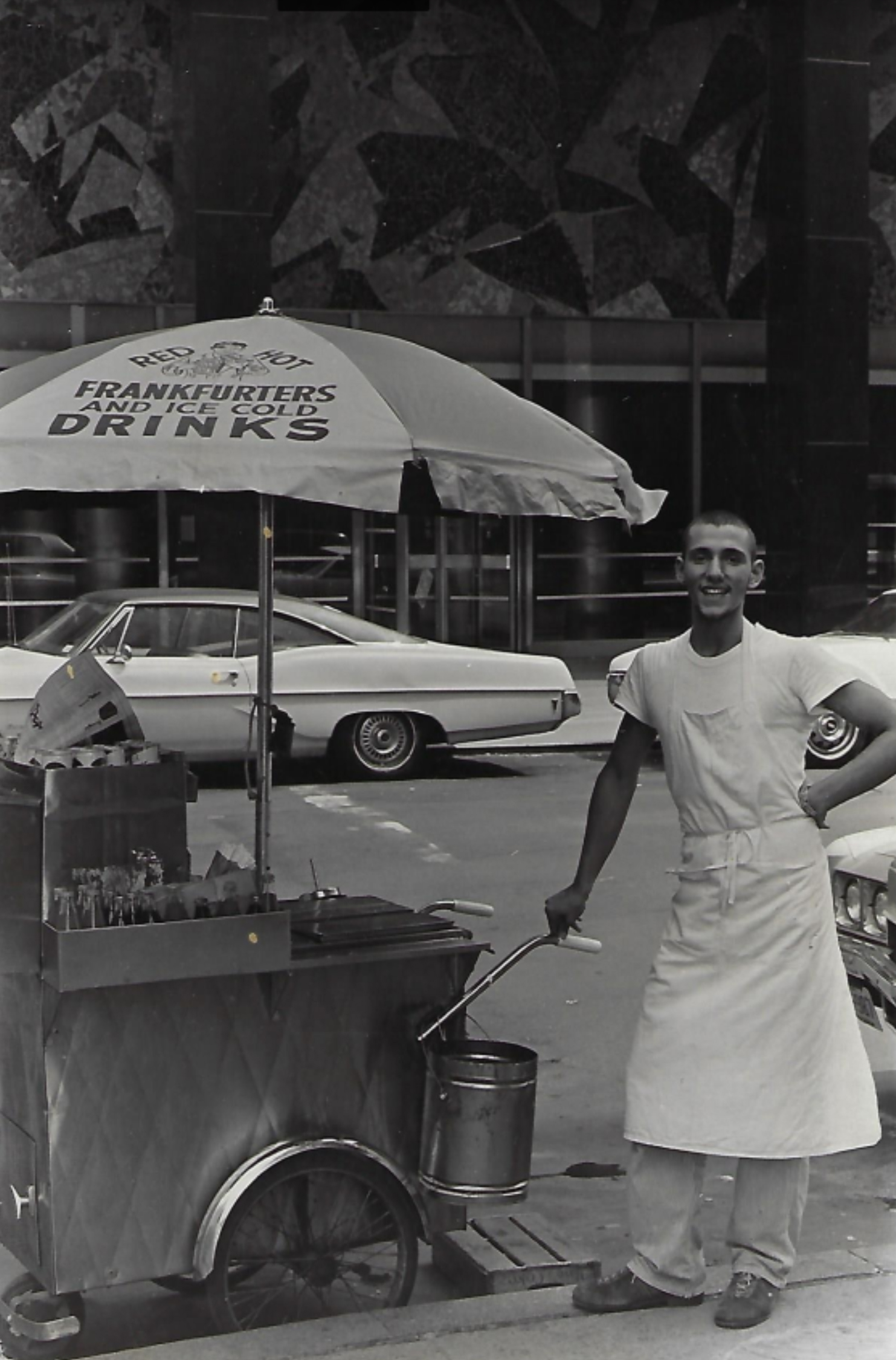 My father, Thomas Laskaris, selling hot dogs at age 19 (1973) in the financial district of Manhattan. A customer took the photo of him and, as promised, sent it to him in the mail.