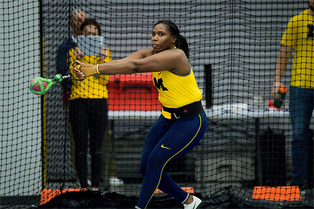 Briana Nelson performing a hammer throw